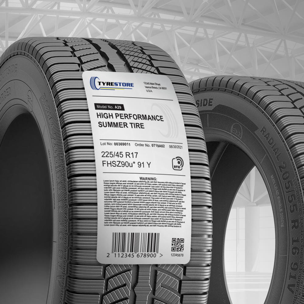Smart label with a Spec T inlay on a tire